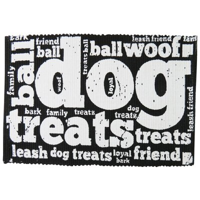 PB Paws & Co. Family Treats Cotton Pet Mat Size: 19 W x 13 D, Color: Black/White