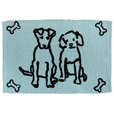 PB Paws & Co. Dog Friends Cotton Pet Mat Color: Aqua/Black