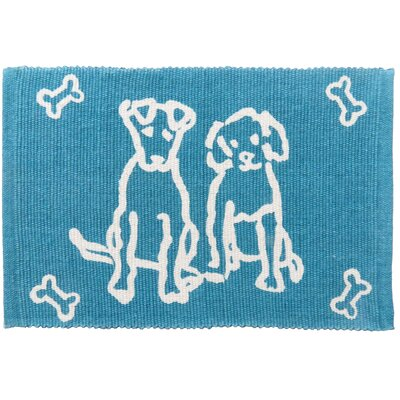 PB Paws & Co. Dog Friends Cotton Pet Mat Size: 19 W x 13 D, Color: Tropical Blue