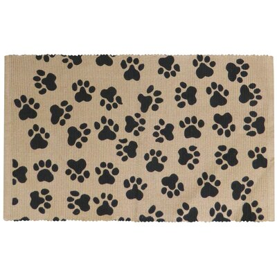 PB Paws & Co. World Paws Cotton Pet Mat Color: Linen/Black, Size: 24 W x 16 D