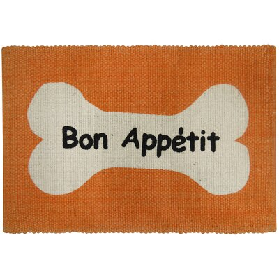 PB Paws & Co. Bone Appetit Cotton Pet Mat Color: Orange