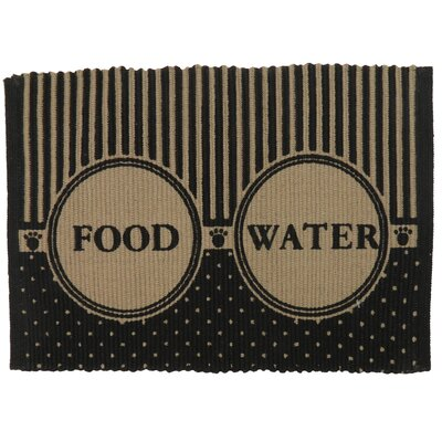 PB Paws & Co. Food/Water Cotton Pet Mat Color: Linen/Black