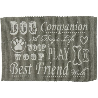 PB Paws & Co. Dog Companion Cotton Pet Mat Size: 19 W x 13 D, Color: Silver