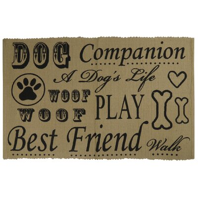 PB Paws & Co. Dog Companion Cotton Pet Mat Color: Linen/Black