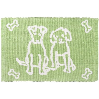 PB Paws & Co. Dog Friends Cotton Pet Mat Color: Lime, Size: 30 W x 20 D