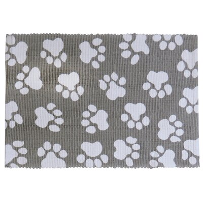 PB Paws & Co. World Paws Cotton Pet Mat Color: Grey/White, Size: 24 W x 16 D