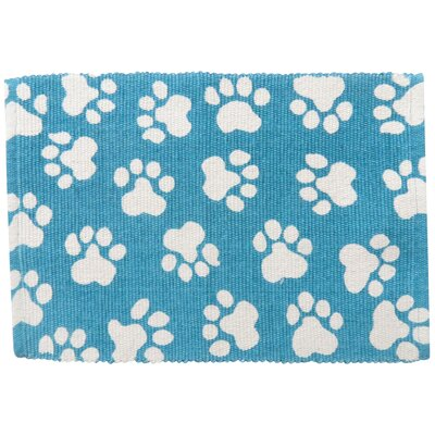 PB Paws & Co. World Paws Cotton Pet Mat Color: Tropical Blue, Size: 19 W x 13 D