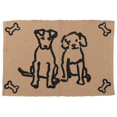 PB Paws & Co. Dog Friends Cotton Pet Mat Size: 24 W x 16 D, Color: Linen