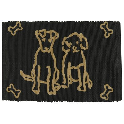 PB Paws & Co. Dog Friends Cotton Pet Mat Color: Black/Linen
