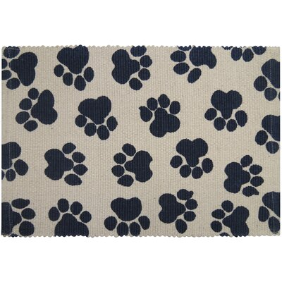 PB Paws & Co. World Paws Cotton Pet Mat Color: Natural/Indigo, Size: 19 W x 13 D