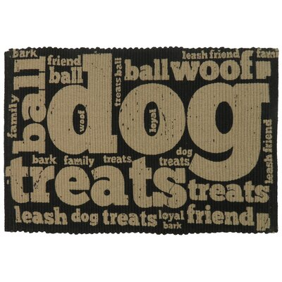 PB Paws & Co. Family Treats Cotton Pet Mat Size: 19 W x 13 D, Color: Black/Linen