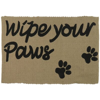 PB Paws & Co. Wipe Your Paws Cotton Pet Mat Color: Linen/Black