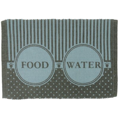 PB Paws & Co. Food/Water Cotton Pet Mat Color: Grey/Aqua