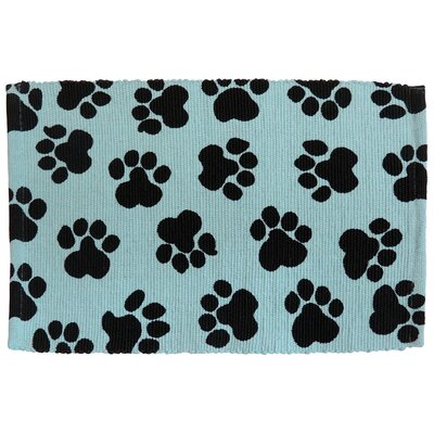 PB Paws & Co. World Paws Cotton Pet Mat Color: Aqua/Black, Size: 19 W x 13 D