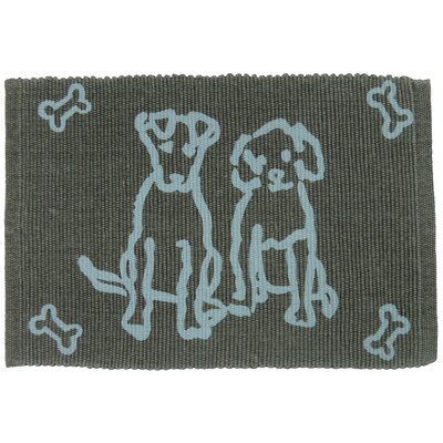 PB Paws & Co. Dog Friends Cotton Pet Mat Size: 19 W x 13 D, Color: Gray/Aqua