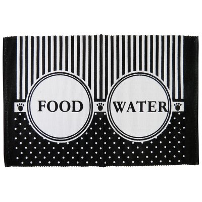 PB Paws & Co. Food/Water Cotton Pet Mat Color: Black/White