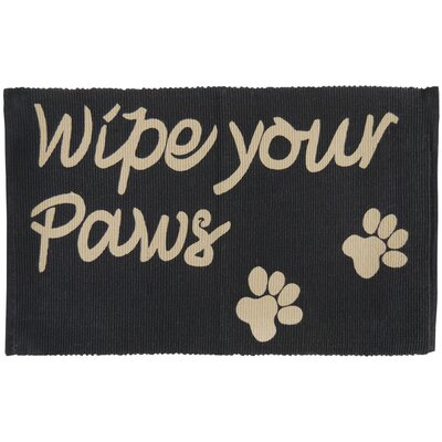 PB Paws & Co. Wipe Your Paws Cotton Pet Mat Color: Black/Linen