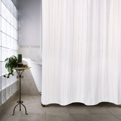 Metro Farmhouse Cotton Eyelet Chain Shower Curtain Color: White