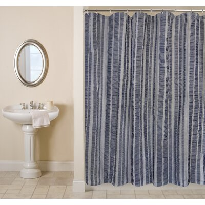 Metro Farmhouse Cotton Seersucker Bands Shower Curtain Color: Indigo