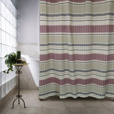 Metro Farmhouse Cotton Seersucker Bands Shower Curtain Color: Red/Linen