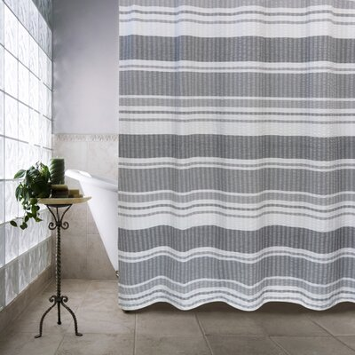 Metro Farmhouse Cotton Seersucker Bands Shower Curtain Color: Gray