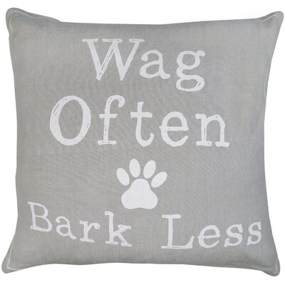 Wag Often Bark Less Printed Decorative Cotton Throw Pillow