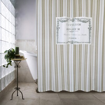 Metro Farmhouse Cotton Bonheur Shower Curtain Color: Linen