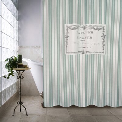 Metro Farmhouse Cotton Bonheur Shower Curtain Color: Spearmint