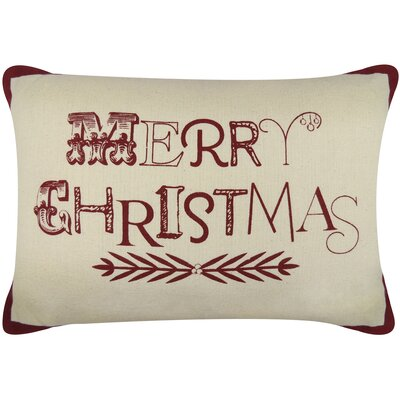 Vintage House Merry Christmas Printed Decorative Cotton Lumbar Pillow