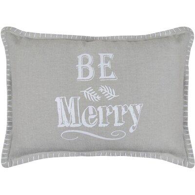 Vintage House Be Merry Printed Decorative Cotton Lumbar Pillow