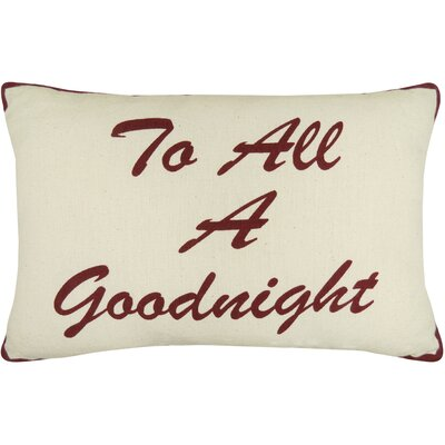 Vintage House to All a Good Night Printed Decorative Cotton Lumbar Pillow