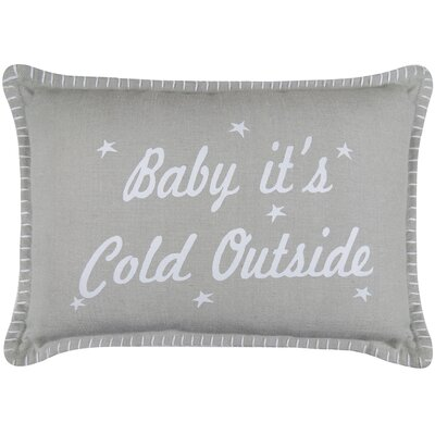 Vintage House Cold Outside Printed Decorative Cotton Lumbar Pillow
