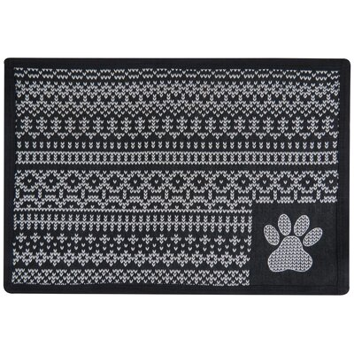 Morey Knit Paw Tapestry Pet Mat Color: Black