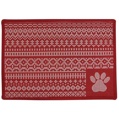Morey Knit Paw Tapestry Pet Mat Color: Red