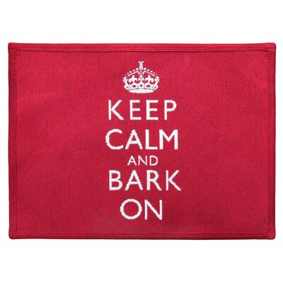 Keep Calm and Bark Tapestry Pet Mat Color: Red