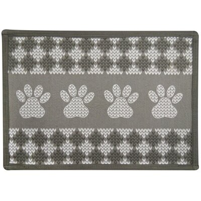 Knit Paw Border Tapestry Pet Mat Color: Taupe
