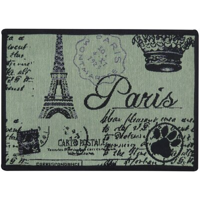 Paris Collage Tapestry Pet Mat Color: Smoke Green