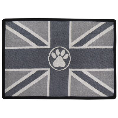 Union Jack Paw Tapestry Pet Mat Color: Silver