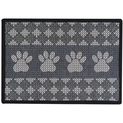 Knit Paw Border Tapestry Pet Mat Color: Grey