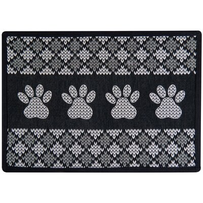 Knit Paw Border Tapestry Pet Mat Color: Black