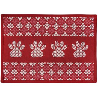Morey Knit Paw Border Tapestry Pet Mat Color: Red