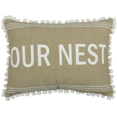 Our Nest 100% Cotton Lumbar Pillow Color: Linen/White