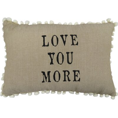 Love You More 100% Cotton Lumbar Pillow