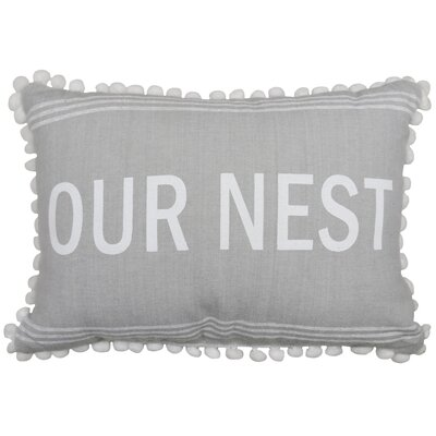 Our Nest 100% Cotton Lumbar Pillow Color: Gray/White
