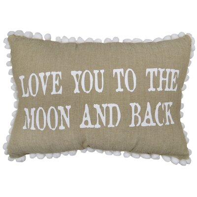 Love You to Moon 100% Cotton Lumbar Pillow Color: Linen/White