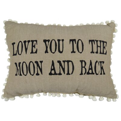 Love You to Moon 100% Cotton Lumbar Pillow Color: Linen/Black