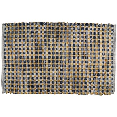 Quality Living Jute Check Hand-Woven Indigo Area Rug