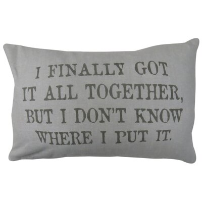 Vintage House All Together Cotton Lumbar Pillow Color: Gray