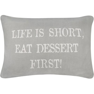 Vintage House Dessert First Cotton Lumbar Pillow Color: Gray/White