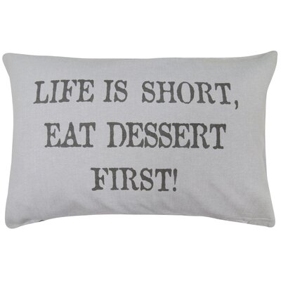 Vintage House Dessert First Cotton Lumbar Pillow Color: Gray